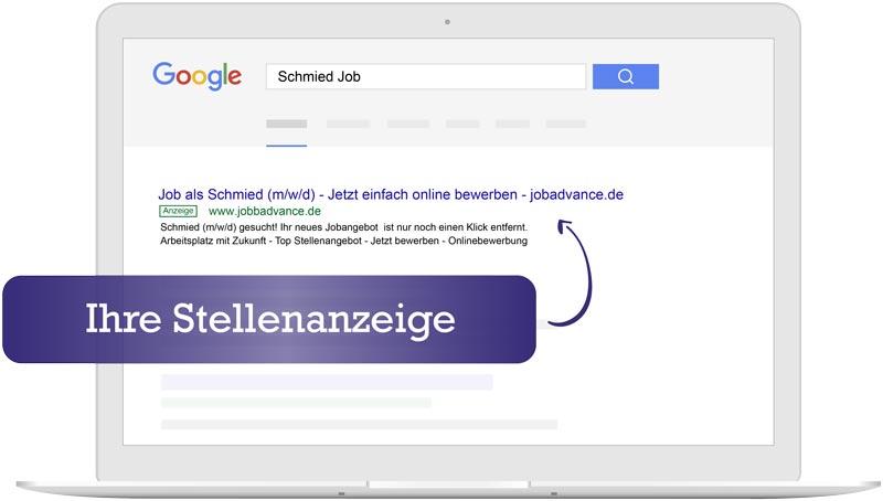 Ihre Stellenanzeige bei Google – mit jobadvance